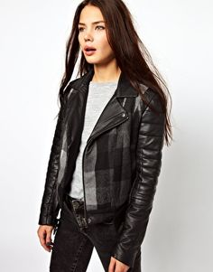 Cote By Improvd Gia Leather Biker Jacket With Contrast Check Body - really innovative biker jacket