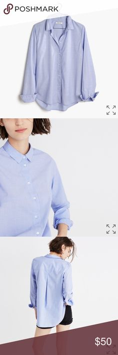 madewell westlight button down shirt PRODUCT DETAILS The borrowed-from-the-boys button-down gets a cool-girl makeover with a swingy shirttail hem. The unexpected A-line shape makes this one a design-team favorite.  True to size. Cotton. Machine wash. Import. Item G1360. Madewell Tops Button Down Shirts