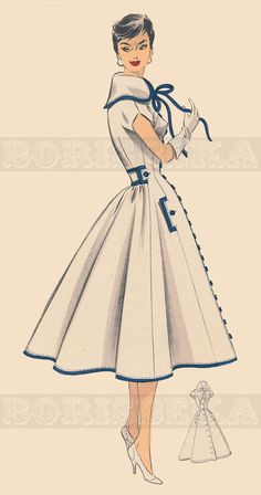 vintage French DRESS/COAT sewing pattern 50s PDF by borisbeka