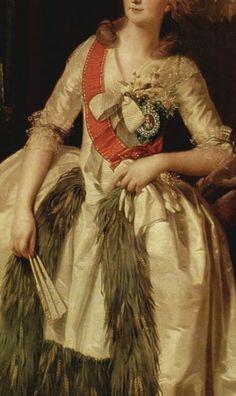 Princess Fürstin Saltykova (1780) (detail), by Johann Heinrich Wilhelm Tischbein (1751 - 1829) Rococo Fashion, Fashion Art, Fashion History, German Fashion, European Fashion, Close Up Art, 18th Century Fashion, Unique Dresses, Pretty Art