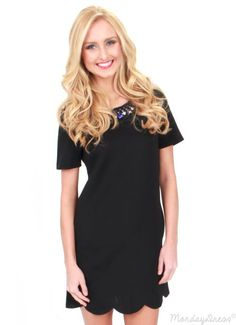 Well Fancy That Black Scalloped Dress
