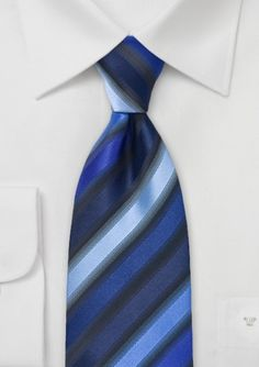 Diagonally Striped Tie in Blues