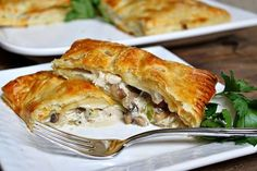 Sharing a recipe for Turkey, Mushroom and Bacon Puff Pastry Pockets. How-to photographs included. Leftovers Recipes, Turkey Recipes, Turkey Leftovers, Leftover Turkey, Pepperidge Farm Puff Pastry, Bacon Stuffed Mushrooms, Bacon Mushroom, Creamy Mushrooms, Mushroom Sauce