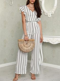 Ruffled Deep V Tied Waist Stripes Jumpsuit