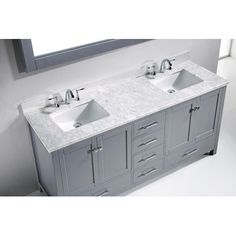 "Caroline Avenue 73"" Double Bathroom Vanity Set with Mirror   Wayfair"