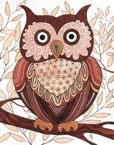 brown owl by Olena Baca Watercolor Paintings, Original Paintings, Owl Paintings, Owl Bags, Paper Owls, Owl Cartoon, Owl Pictures, Beautiful Owl, Owl Crafts