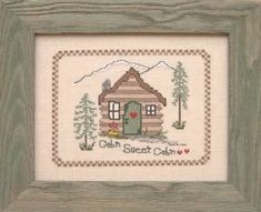 Designs By Lisa Cabin Sweet Cabin - Cross Stitch Pattern. Model stitched on 28 count Shell Linen with DMC floss. The stitch count is 110W x 86H.