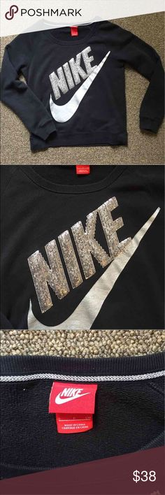 Nike sequin sweatshirt Nike bling crewneck smoke and pet free home no holes or stains. Very hard to find! Nike Sweaters