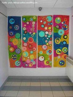 Kandinsky Type Art makes a great mural Group Art Projects, Collaborative Art Projects, Pintura Graffiti, Classe D'art, School Murals, Circle Art, Kindergarten Art, Art Lesson Plans, Art Classroom
