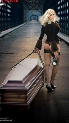 """Nude Polish beauties posing with coffins. Two casket-making companies launched new campaigns and they are competing on the market with their bizzare idea. A calendar with title """"Drop Dead Gorgeous"""" Scantily Clad, Women In History, All About Fashion, Persona, Sexy, Creepy, Erotic, Advertising, Ads"""