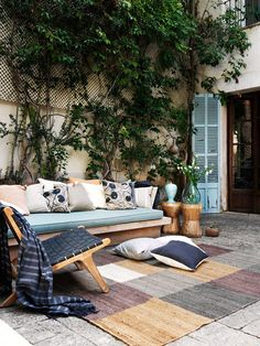 Outdoor living perfect for relaxing with company Outdoor Retreat, Outdoor Spaces, Outdoor Decor, Outside Living, Outdoor Living, Terrace Roof, Balcony, Porches, Small Space Interior Design