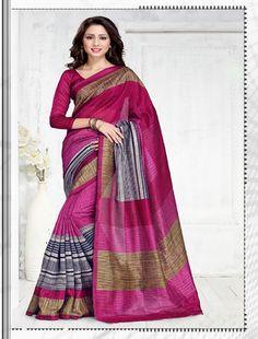 Pink Green Silk Printed Saree By Thankar Silk Sarees