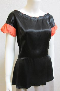 1940 s Black Satin Blouse   Coral Scalloped Cuffs   Size  31