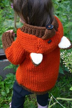 Baby Knitting Patterns Hoodie Knitted Fox sweater pattern (Currently osts under for this pattern downlo. Fox Sweater, Baby Cardigan, Hooded Sweater, Fox Scarf, Knitting For Kids, Free Knitting, Knitting Sweaters, Knitting Ideas, Free Baby Knitting Patterns