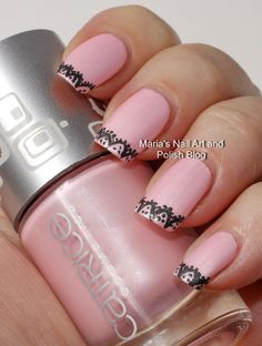 Black lace nail art on Another Pink Panther