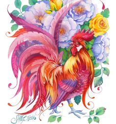 Happy New Year my friends ❤️ The Year of the red (fire) Rooster according to Chinese zodiac 🐓 Whatever is beautiful. Bird Illustration, Botanical Illustration, Rooster Art, Beautiful Drawings, Pretty Art, Prismacolor, Art Pages, Bird Art, Photo Art