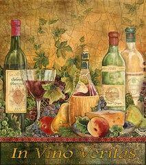 """ In Vino Veritas"" Wine Bottle & glass Art Composition #cGreens #cCreams #edit"