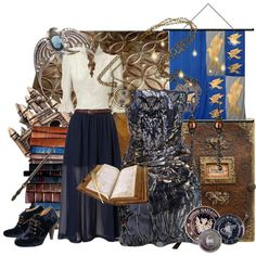 """I kind of love that white top w/ the blue skirt """"Ravenclaw - Deep Magic"""" by oopsalion on Polyvore"""