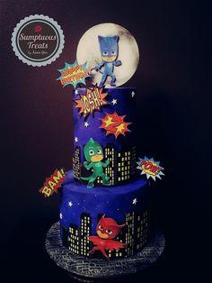 PJ Mask Birthday Cake ~ Custom-Made-To-Order Cakes, Cookies & Cupcakes ~ Edible Art ~ www.sumptuoustreats.com Pj Masks Birthday Cake, 3rd Birthday Cakes, Superhero Birthday Party, 4th Birthday Parties, Second Birthday Ideas, Birthday Themes For Boys, Pjmask Party, Party Ideas, Decoracion Pj Mask