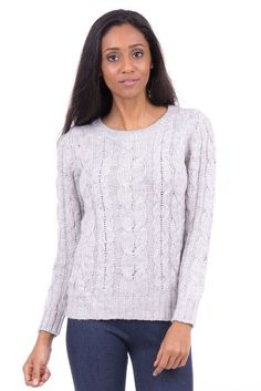 Jumper Grey Cable Knitted long sleeve jumper in a size 20 BNWTs | eBay