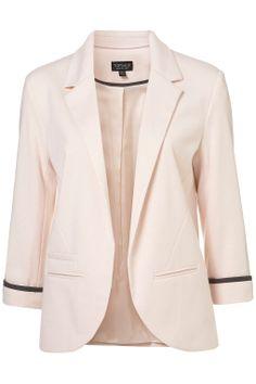 Topshop Ponte Boyfriend Blazer - pink w/ 3/4 sleeve