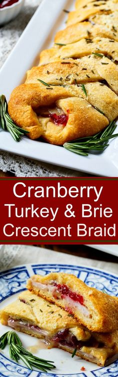 Turkey, Cranberry, and Brie Crescent Braid - a great addition to any Thanksgiving spread! Use goat cheese instead of brie Turkey Recipes, Fall Recipes, Holiday Recipes, Holiday Foods, Mini Quiches, Appetizer Recipes, Dinner Recipes, Brie Appetizer, Party Appetizers