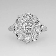 Lacey Edwardian Old European Cut Diamond Ring Platinum