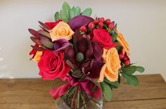 Bridal bouquet with traditional fall colors *Creative Touches Evansville*