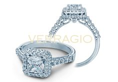 A new favorite from the Classic Collection, 926P55 brilliantly features a Princess cut diamond along with round diamonds for an extraordinary engagement ring.   Learn more about this ring at http://www.verragio.com