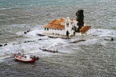 Rough seas….. Hillside Village, Corfu Town, Corfu Island, Corfu Greece, Cypress Trees, Wild Nature, Come And Go, Scenery, Boat