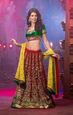 USD 185.46 Maroon Net Ram Leela Style Bridal Lehenga Choli 30372