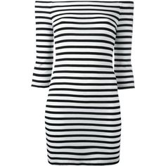 Zoe Karssen off-shoulders striped dress (7,010 PHP) ❤ liked on Polyvore featuring dresses, black, off the shoulder dress, zoe karssen, striped dress, striped off the shoulder dress and stripe dresses