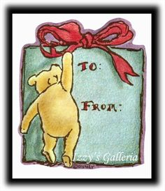 ONE Vintage Classic Pooh Christmas Gift Present To & From Gift Tags Stickers