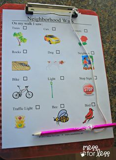 Free Printable for I Spy Neighborhood Walk from Mess for Less