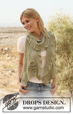 """Gehaakte DROPS sjaal met bloemen en golvende rand van """"BabyAlpaca Silk"""". ~ DROPS Design"""