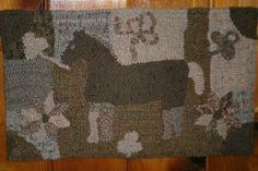 Magdalena's Folk Art Horse-Woolley Fox,hooked by me SH