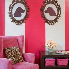 pink velvet wingback chair | white and pink striped walls | dog silhouettes