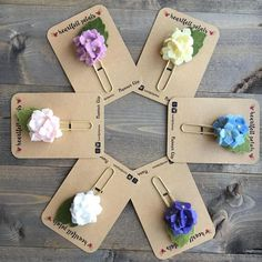 Felt Hydrangea Flower Planner Clip Paperclip Choose from 6 Paperclip Crafts, Wire Crafts, Polymer Clay Crafts, Paper Clips Diy, Diy Paper, Paper Crafts, New Crafts, Diy And Crafts, Bookmarks Kids