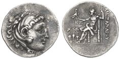 MACEDONIA, Alasdair III.der large, tetradrachm (Alexandreier), approximate 230 BC, Temnos, Av. : head of the youthful Heracles with skin of a lion clockwise, Rv. : Zeus with eagle and scepter on throne left sitting; afield left monogram over Oinochoe with vines, prize 1686, Müller 958, 16. 42 g, ss