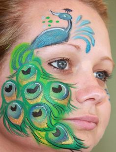 Face paint bird peacock animal girls half face