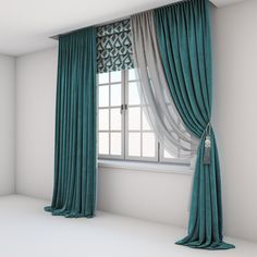 Turquoise curtains, a Roman shade with a geometrical sample and the window format… Turquoise curtains, a Roman shade with a geometrical sample and the window layouts Baby Room Curtains, Living Room Decor Curtains, Home Curtains, Bedroom Decor, Turquoise Curtains Bedroom, Window Curtains, Luxury Curtains, Elegant Curtains, Beautiful Curtains