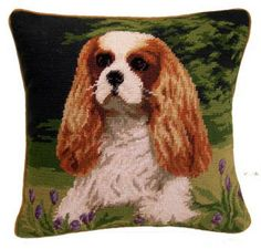 Home design with dogs in mind. That is our motto. Discover our huge collection of dog lover gifts. Needlepoint pillow featuring a charming Cavalier Spaniel. Cavalier King Charles, King Charles Spaniel, Dog Lover Gifts, Dog Lovers, Spaniel Dog, Spaniels, Small Purple Flowers, Needlepoint Pillows, Dog Portraits