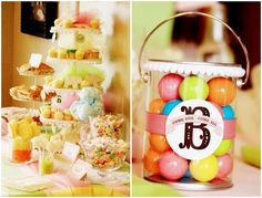 salt water taffy & dainty cupcakes are cute for the desert table, guests go home with gumball-filled cans, again the monogram