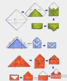 Оригами конверт - поделка из бумаги, несколько схем сборки