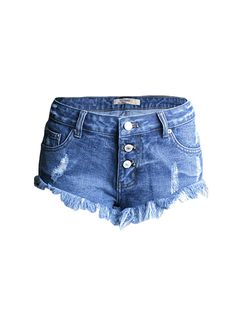 Multi Buttons Blue Wash Denim Ripped Fringe Shorts_Denim Shorts Jeans_Women Jeans_Sexy Lingeire | Cheap Plus Size Lingerie At Wholesale Price | Feelovely.com
