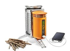 Camp stove burns wood instead of fuel and uses the heat to generate electricity at the same time.