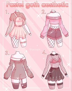 Drawing Anime Clothes, Manga Clothes, Kawaii Clothes, Teen Fashion Outfits, Anime Outfits, Girl Outfits, Fashion Design Drawings, Fashion Sketches, Goth Aesthetic