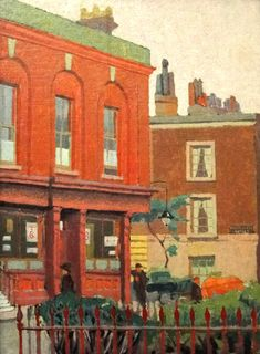 A Chelsea Street (Malcolm Drummond - No dates listed) Ashmolean Oxford Leeds Art Gallery, Aberdeen Art Gallery, Edward Hopper, Mary Poppins, Your Paintings, Landscape Paintings, Landscapes, Monuments, Impressionist Artists