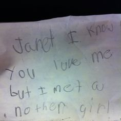 Note by a first-grader to his girlfriend LOL