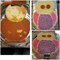 "Owl Cake: Italian Buttetcream Frosting. Thought of sharing on how to make this cake using  9"" and 12"" pans. Enjoy!"